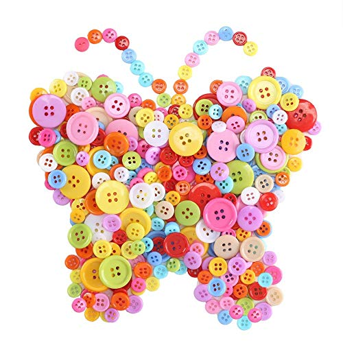 Anpatio 1100pcs Resin Buttons Assorted Colors and Size Bulk Round Craft Buttons 4 Holes Sewing Buttons for Clothing DIY Crafting Painting Children's Manual Scrapbooking Decoration -