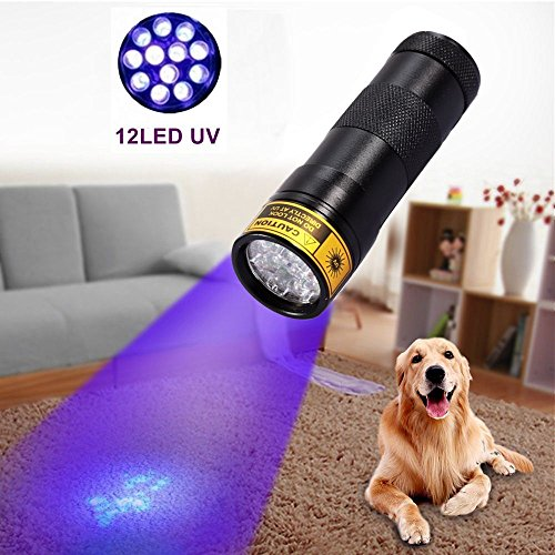 ALONEFIRE Black Light cat Urine Blacklight Ultraviolet Flashlight 395 nm UV 12 led lamp Portable Blacklight 3 AAA Battery with Free Keychain Light for Home Sports Outdoors Hunting Camping Hiking Pet