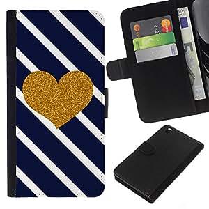 WINCASE Cuadro Funda Voltear Cuero Ranura Tarjetas TPU Carcasas Protectora Cover Case Para HTC DESIRE 816 - diagonales rayas blancas negras del corazón