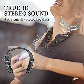 Bluetooth Headphones Speaker 2 in 1,Bluenin Neckband Wireless Headset Wearable Speaker True 3D Stereo Sound Sweatproof Headphones with Retractable Earbuds Built-in Microphone Titanium Black