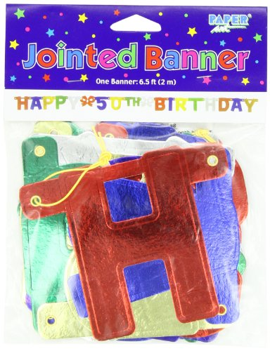 Creative Converting Party Decoration Jointed Banner, Happy 5