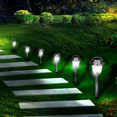 EZSolar Solar Pathway Lights Outdoor of Stainless Steel Case, Glass Lens, Garden Lights for Patio, Walkway- 8 Packs by EZSolar (Image #8)