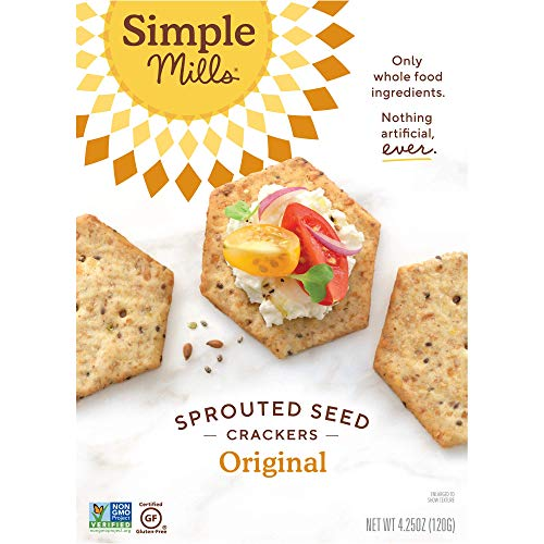 Simple Mills Original Gluten Free Sprouted Seed Crackers with Chia Seeds, Hemp Seeds, Sunflower Seeds, Flax Seeds, and Sunflower Oil, Made with whole foods, 6 Count (Packaging May Vary)