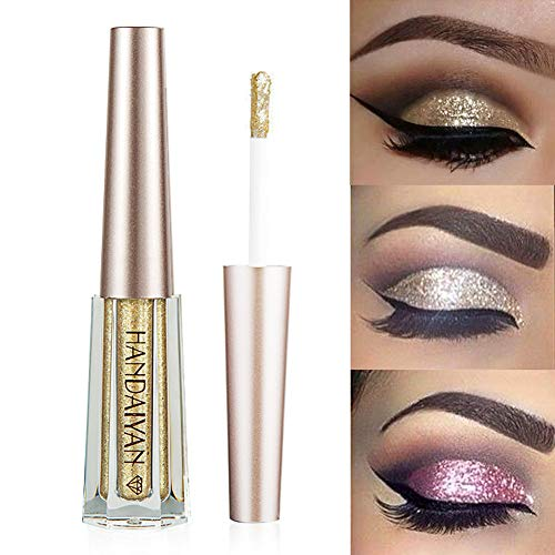 GL-Turelifes Diamond Glitter Liquid Eyeshadow & Eyeliner Pen Starry Sequins Mermaid Eye Shadow Long Lasting Shiny and Pigmented Waterproof Sparkling &Shimmer Eyes Makeup(#1 Glod)