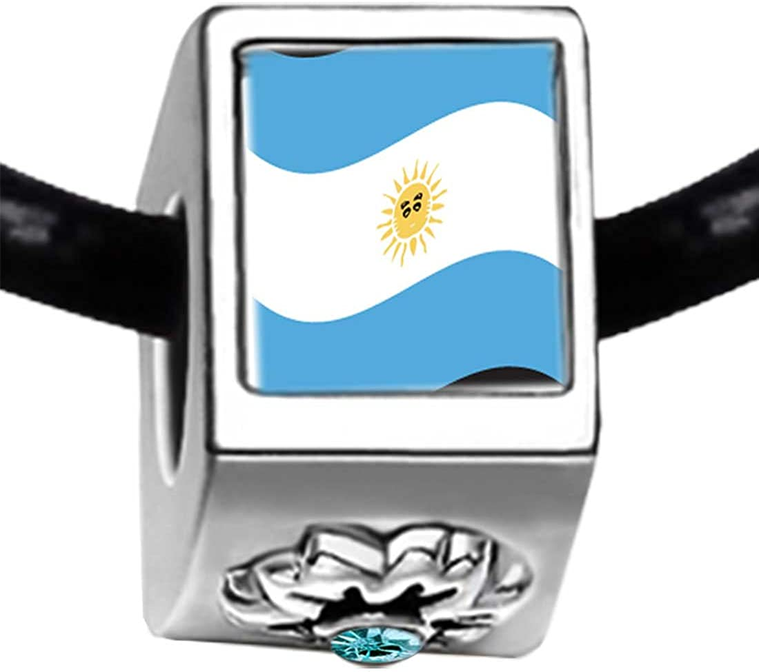 GiftJewelryShop Silver Plated Argentina Flag Photo Blue Aquamarine Crystal March Birthstone Flower Bead Charm Bracelets