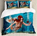 Duvet Cover SetMagic Aqua Sea Lily Duvet Cover SetDecorative 3 Piece Bedding Set with 2 Pillow Shams