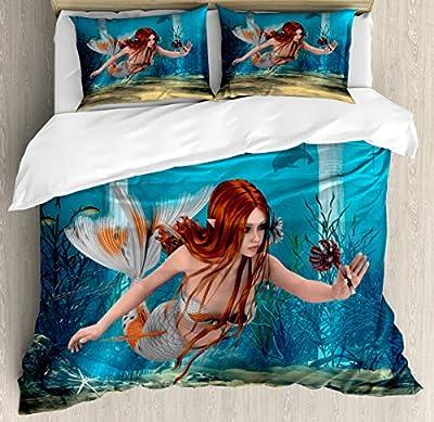 Duvet Cover SetMagic Aqua Sea Lily Duvet Cover SetDecorative 3 Piece Bedding Set with 2 Pillow Shams