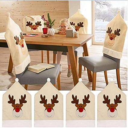 Amazon 4pc 5060cm Deer Hat Chair Covers Cushion Christmas Decor Dinner Xmas Cap Sets Musical Instruments