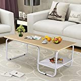 Yaheetech 2 Tiers Wood End Table Modern Decor Tea Coffee Side Table w/Storage for Home/Office/outdoor