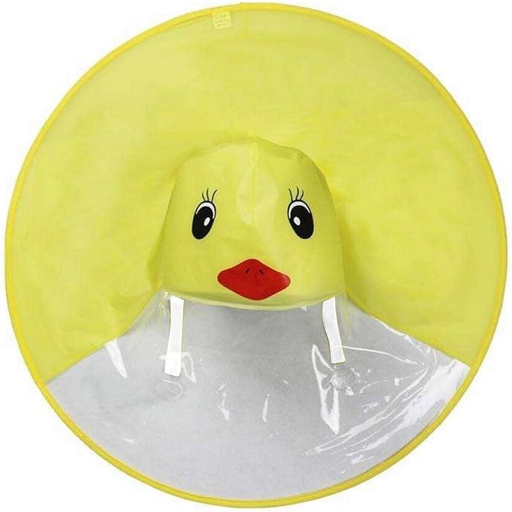 Jentouzz Baby Kids Cute Rain Coat UFO Children Umbrella Hat Magical Hands Free Raincoat