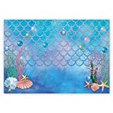 Funnytree 7x5ft Summer Little Mermaid Scales Photography Backdrop Under The Sea Princess Girl Background for Birthday Party Ocean Theme Baby Shower Photo Booth Studio Decorations Cake Table Banner