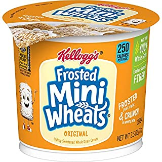 Kellogg's Frosted Mini-Wheats, Breakfast Cereal in a Cup, Original, Low Fat, Made from 100% Whole Grain, Bulk Size, 12 Count (Pack of 2, 15 oz Trays)
