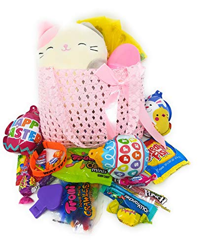 NS Kids Girl Gift Set for Happy Easter Birthday Holiday Premade Squishmallow Karina Cat Purse Basket Egg Stuffers Goodie Bag Birthday Bundle Assorted Toys, Assorted Candy for Girls Pink