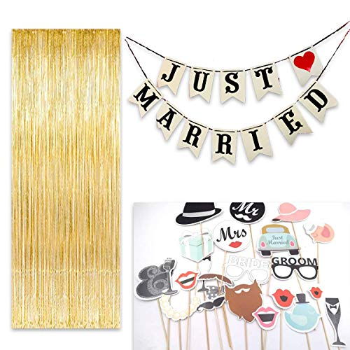 Photo Booth Props Set- DIY Photo Booth kit for weddings, Includes 3ft by 9 ft Foil Fringe Back Drop Curtain, Just Married Banner & 20+ Wedding Photo Booth Props Set (Gold)]()