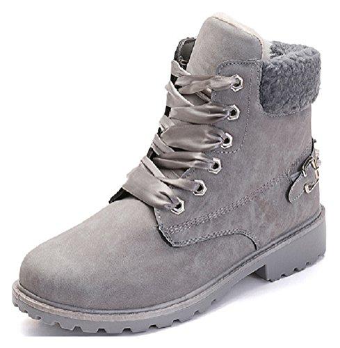 Vivihouse Womens Buckle Snow Boots Faux Fur Ankle Bootie Combat Boots