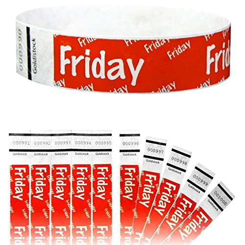 "Goldistock 3/4"" Tyvek Wristbands Friday 500 Count (Neon Red)"