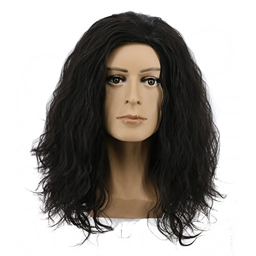 (Yuehong Medium Curly Black Wig Anime Cosplay Wig Heat Resistant Wigs Halloween)