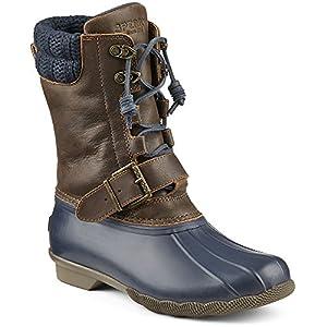 Sperry Top-Sider Women's Saltwater Misty Rain Boot, Navy/Brown, 8 M US