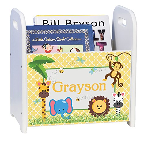 - Personalized Jungle Babies White Book Caddy and Rack