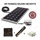 Kit panneau solaire 140w 12v monocristallin pour camping car + regulateur + cable + fixation + colle
