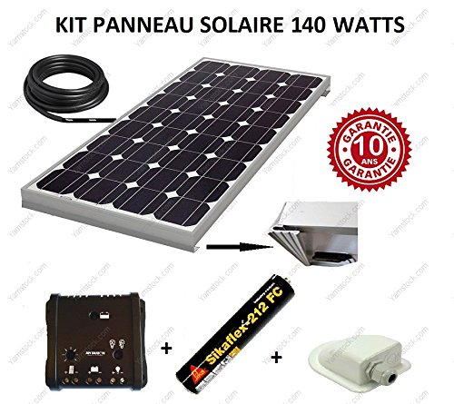 Solarmodul-Set, 140W, 12V, monokristalline Solarzelle für Wohnmobile, inkl. Regler, Kabel, Befestigung und Kleber