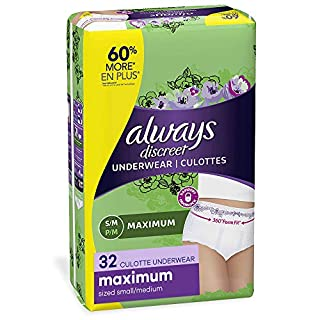 Always Discreet, Incontinence & Postpartum Underwear for Women, Maximum, Small / Medium, 32 Count