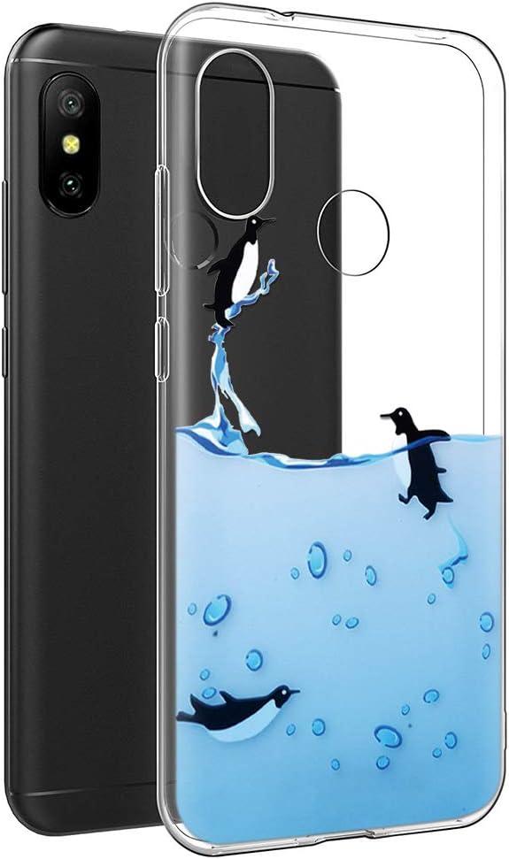 Funda Xiaomi Mi A2 Lite, Eouine Cárcasa Silicona 3D Transparente con Dibujos Diseño [Antigolpes] de Protector Fundas para Movil Xiaomi Mi A2 Lite/Xiaomi Redmi 6Pro - 5,84 Pulgadas (Pingüinos)