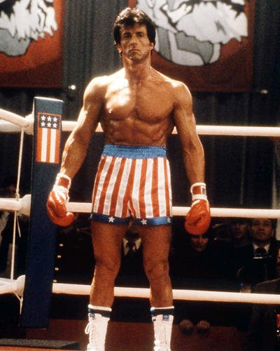 Rocky IV Sylvester Stallone in stars and stripes shorts in ring11x14 Promotional Photograph