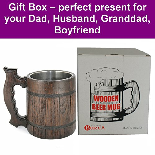 Wooden Beer Mug 20 oz for Men. Handmade Coffee Drinking Cup. Large Pirate Pint Wood Stein. Viking Ale Mead Tankard with Handle. Fathers Day, Birthday Cool Gift Box. Funny Anniversary Accessories by BarvA (Image #1)