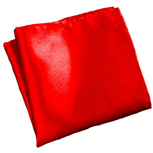 Flairs New York Gentleman's Essentials Weekend Casual White Pocket Square (Bright Red [Silky Smooth])