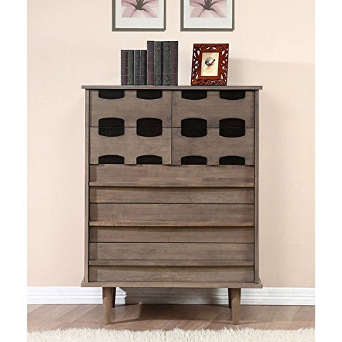 Carrington Chest - Mid-Century, Modern Design Vanda 7-drawer Chest Dresser in Charcoal Grey / Sicilian Black Finish