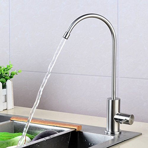 Dhpz Kitchen Faucet 304 Stainless Steel Water Purifier Lead-Free Single Cold Home Rotatable Drinking Tap, A