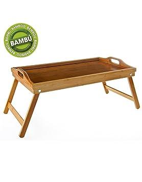 Bandeja con patas de bambu, plegable, ideal para desayunos en la cama (50x30x22