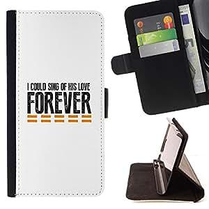 BullDog Case - FOR/Samsung Galaxy S6 / - / I COULD SING OF HIS LOVE FOREVER /- Monedero de cuero de la PU Llevar cubierta de la caja con el ID Credit Card Slots Flip funda de cuer