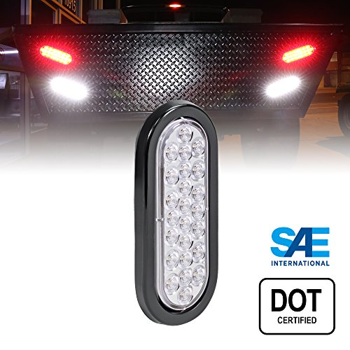 6' Oval White 24 LED Trailer Tail Lights [DOT Certified] [Grommet & Plug Included] [IP67 Waterproof] Reverse Back Up Trailer Lights for RV Trucks Jeep