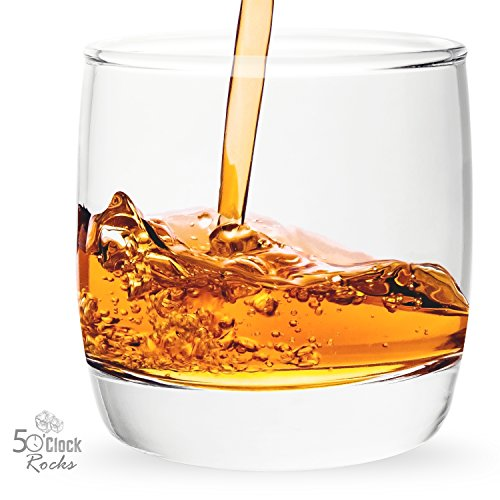 5 O'Clock Rocks 6.5-Ounce Scotch and Whiskey Glasses with Mixologist Recipe Book (Set of 2)