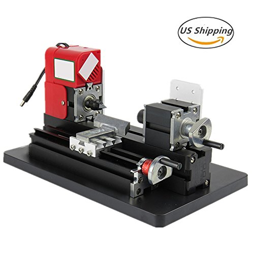 Lolicute 24W 20000rpm Motorized Mini Metal Working Lathe Machine DIY Tool Metal Woodworking for Hobby Science Education Model Making( United States Shipping) by Lolicute