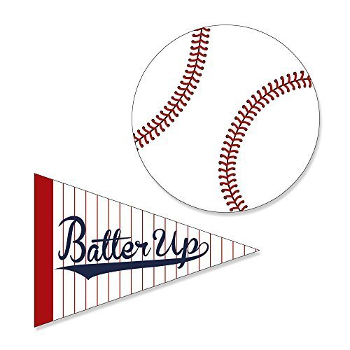 Batter Up - Baseball - DIY Shaped Baby Shower or Birthday Party Cut-Outs - 24 Count (Baseball Cutout)