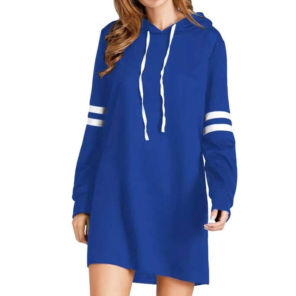 Anxinke Women Fashion Long Sleeve Hoodies Pullover Sweatshirts Mini Dress (S, Blue)
