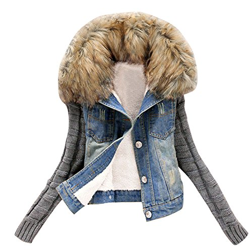 XILALU Plus Size Women Winter Denim Jacket, Movable Fur Collar Knit Sleeve Pockets Coat Sherpa Lined Cowboy Button Jeans - Fur Collar Pockets