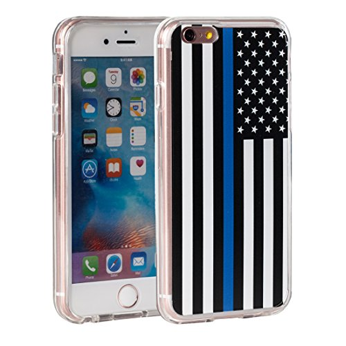 iPhone 6s Case,iPhone 6 Case,AIRWEE American Police Thin Blue Line Flag Pattern Slim Clear Acrylic PC Hard Back Cover with Soft Rubber TPU Bumper Hybrid Protective Case for Apple iPhone (Blue Acrylic Case)