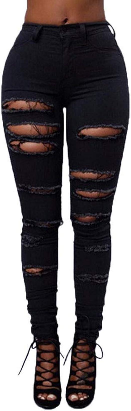HX fashion レディースミッドウエストスキニーホールデニムジーンズストレッチスリムパンツふくらはぎ丈ジーンズファッション2019婦人服