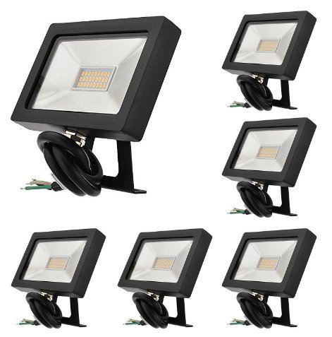 LEDwholesalers Series-5 Ultra-Slim 15W LED Outdoor Security Flood Light Fixture with Bracket Mount, UL-Listed, Warm White 3000K, (Package of 6), 3792WWx6