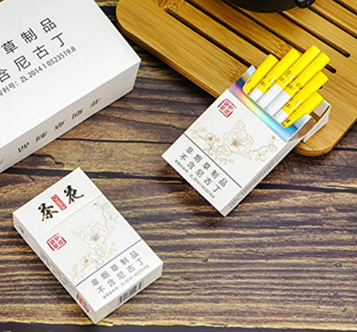HUWOYMX Green Tea Herbal Cigarettes, Chinese Herbal Cigarettes Smoke-Free and Nicotine-Free, Cigarette Substitutes That Can Clean The Lungs (1 Package,Camellia)