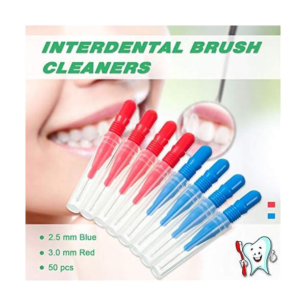 200 Palillos Dentales de Goma Suave Hilos Dentales y 50 Cepillos Interdentales Herramienta de Limpieza Dental 4