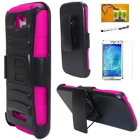 Alcatel One Touch Fierce 2 7040T / Pop Icon A564C Case, LF Hybrid Armor Stand Case with Holster and Locking Belt Clip, Stylus Pen, Screen Protector & Wiper Accessory (Holster Pink)
