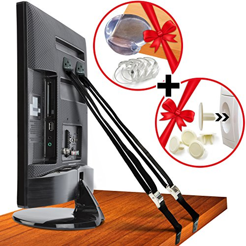 CosmoSafety 2 Anti-Tip Metal Anchor TV & Furniture Appliance Safety Straps plus 4 Corner Protectors and 4 Socket Plug Covers for Baby Proofing or Earthquake Protection