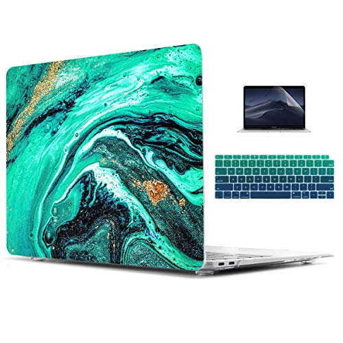 TwoL Aquamarine Luxury Art in Eastern Style Hard Shell Case Keyboard Cover Screen Protector for MacBook Air 13 2012-2017 Release Model A1466/A1369