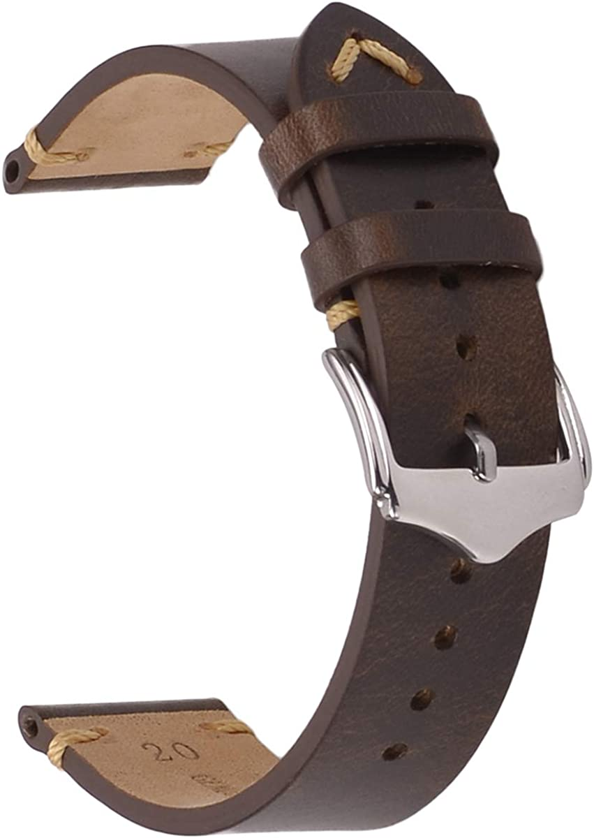 Correas de Reloj de Cuero, Apache Crazy Horse/Aceite de Cera/Banda de Reloj de Piel de Becerro de época Hombres Mujeres Reloj Bands 18mm 20mm 22mm