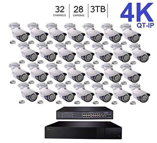 Q-See 4K (8MP) QT-IP Kit Twenty Eight Camera with NVR IP Ultra-HD 32-Channel with 3TB HDD with H.265 (QT816-3 + 28x QTN8086BA + 2xQAPE801)